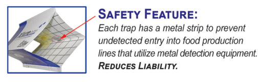 XLure R.T.U. Diamond Traps are metal detectable. Plants with metal detection equipment installed in their production lines will be alerted/halted should an XLure RTU Diamond trap accidentally fall into the production line.